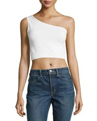 Helmut Lang One Shoulder Cropped Stretch Knit Bra Top Off White