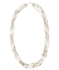 Viyella Three Row Shell And Beading Necklace