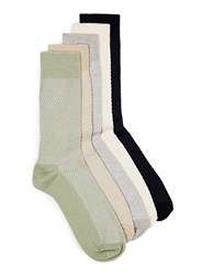 Topman Multi Assorted Colour Waffle Textured Socks 5 Pack