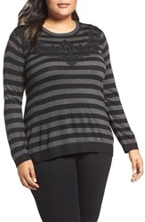 Vince Camuto Plus Size Women's Lace Trim Stripe Sweater