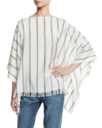 Brunello Cucinelli Striped Fringe Hem Silk Poncho Multi