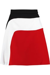 Carven Color Block Stretch Cady Skirt Red