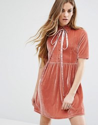 Motel Velvet Dress With Tie Up Bow Neck Pink