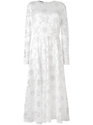 Rochas Floral Semi Sheer Flared Dress Women Silk Lurex Polyamide Rayon 46 White