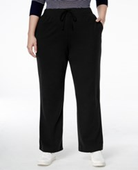 Karen Scott Plus Size Lounge Drawstring Pants Black