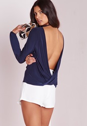 Missguided Long Sleeve Wrap Back Slinky Tunic Navy Blue