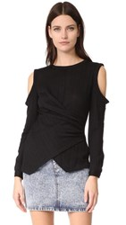 Yigal Azrouel Cold Shoulder Top Black