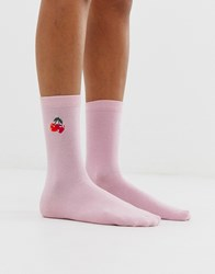 Monki Organic Cotton Ankle Socks With Cherry Logo In Pink