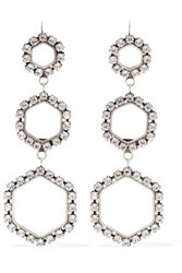 Isabel Marant Silver Tone Crystal Earrings One Size