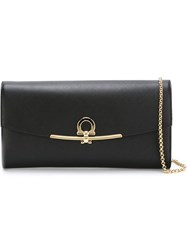 Salvatore Ferragamo Gancio Flap Clutch Black
