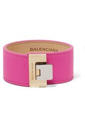 Balenciaga Le Dix Textured Leather Gold Tone Bracelet Pink