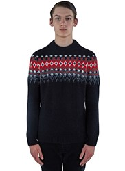 Saint Laurent Sequin Intarsia Knitted Sweater Black