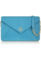 Tory Burch Robinson Textured Leather Envelope Clutch Blue