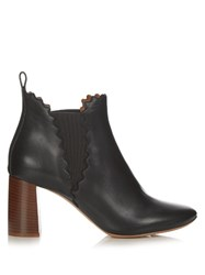 Chloe Lauren Scallop Edged Leather Ankle Boots Black