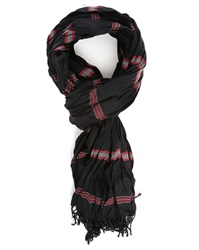 Ikks Black Scarf With Red Stripes
