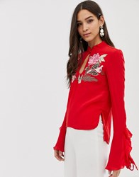 Millie Mackintosh Rose Embroidered Ruffle Sleeve Top