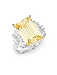 Cz By Kenneth Jay Lane Step Cut Cluster Ring Silver Yellow