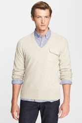Gant By Michael Bastian 'The Mb' V Neck Cashmere Sweater Beige