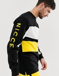 Nicce London Sweatshirt With Colour Panel In Black Grey