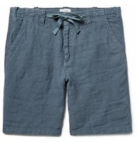Hartford Slim Fit Drawstring Linen Shorts Petrol