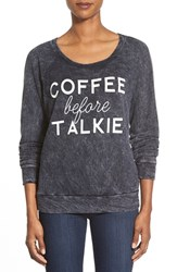 Women's Signorelli 'Coffee Before Talkie' Screenprint Thermal Top Coffee Before Talkie Black