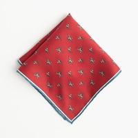J.Crew Italian Silk Pocket Square With Embroidered Ducks Sportsman Red