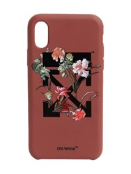 Off White Flower Printed Iphone X Cover Bordeaux
