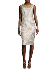 Badgley Mischka Beaded Metallic Brocade Sheath Dress Light Blue