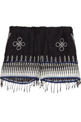 Lemlem Wubit Fringed Embroidered Cotton Blend Shorts Midnight Blue