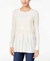 Styleandco. Style Co. Petite Mixed Media Sweater Only At Macy's Warm Ivory