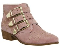 Office Lucky Charm Studded Boots Pink