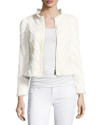 Rebecca Taylor Fringe Tweed Zip Front Jacket White