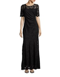 Decode 1.8 Lace Short Sleeve Mermaid Gown Black