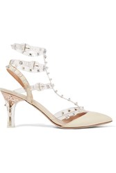Valentino Studded Leather And Pvc Pumps Off White