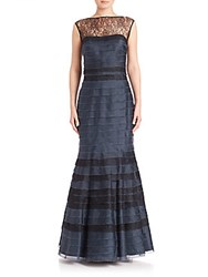 Kay Unger Silk Tiered Mermaid Gown Navy Black