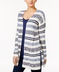 One Hart Juniors' Striped Open Front Cardigan Only At Macy's Insignia Blue Combo