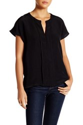 Harlowe And Graham Cap Sleeve Front Panel Woven Blouse Black