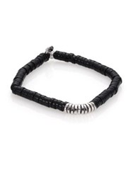 Tateossian Onyx And Sterling Silver Bamboo Bracelet Black
