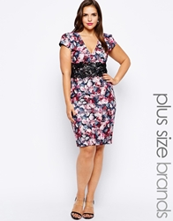 Lipstick Boutique Plus Floral Print Pencil Dress Multi