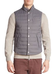 Brunello Cucinelli Quilted Wool And Silk Blend Vest Grey