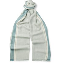 Loro Piana Striped Cashmere And Silk Blend Scarf Blue