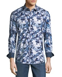 1 Like No Other Classic Fit Kaleidoscope Print Sport Shirt White