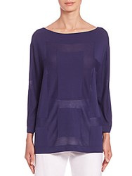 Piazza Sempione Sheer Panel Blouse Blue
