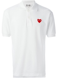 Comme Des Garcons Play Logo Patch Polo Shirt White