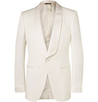 Tom Ford Cream O'connor Slim Fit Grosgrain Trimmed Wool And Mohair Blend Tuxedo Jacket Cream