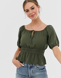 Abercrombie And Fitch Cropped Prairie Blouse Green