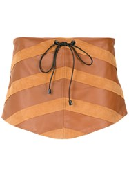 Andrea Bogosian Panelled Skorts Brown