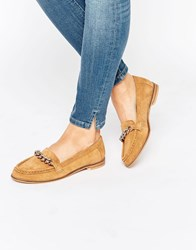 Park Lane Chain Trim Moccasin Tan Suede