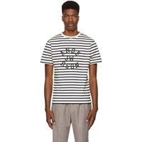 J.W.Anderson Jw Anderson Navy And Off White Striped Logo T Shirt