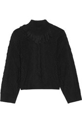 Tanya Taylor Ruth Fringed Open Knit Alpaca Blend Sweater Black